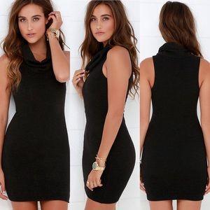 ❥ LuLu's Cowl Neck Little Black Sweater Dress